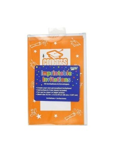 imprintable invitations 10 per pack 8 1/2 in x 5 1/2 in oran