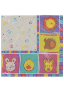 babys zoo 20 count 12 7/8 x 12 3/4 napkins