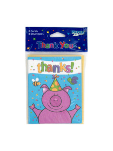 barnyard 8 count thank you cards/envelopes