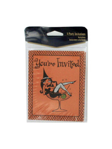 8 Pack bewitched Halloween party invitations