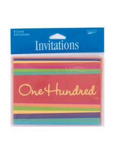birthday stripes 100 hundred 8 count invites/envelopes