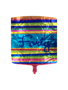 birthday stripes 40 metallic balloon