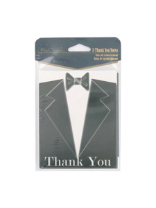 black tie 8 count thank you notes/envelopes