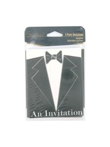 black tie 8 count party invitations/envelopes