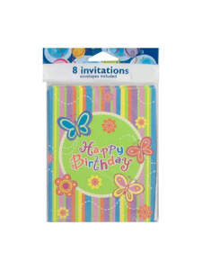 butterfly stripes 8 count happy birthday invites/envelopes