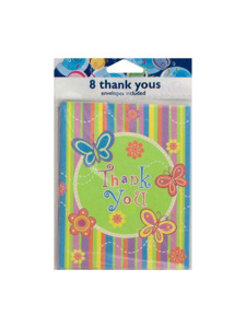 butterfly stripes 8 count thank you cards/envelopes