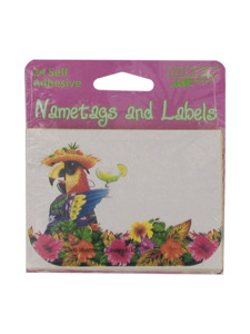 carribbean parrot 24 count self adhesive nametags/lables