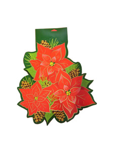christmas pointsettia printed 2 sided cutout