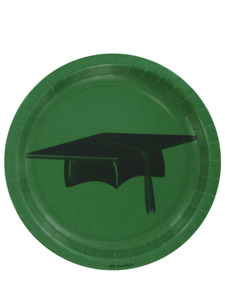 congrats grad 25 count green 7 inch round plates