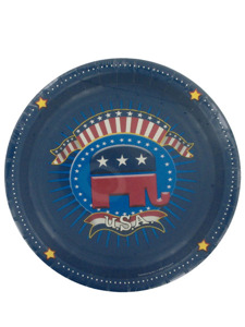 election time republican 8 count 8 7/8 inch round plates