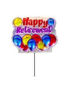 happy retirement metallic two sided yard sign