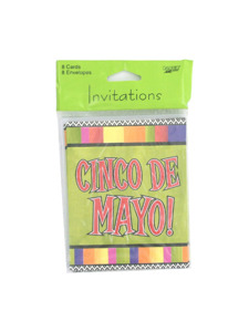 fiesta stripes 8 count cinco de mayo invitations/envelopes