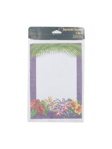 floral tropicana 8 count imprintable stationery