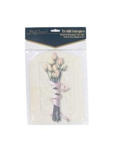 floral bouquet tri fold centerpiece