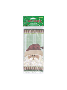 folksy santa 20 count 4 x 9 inch treat bags