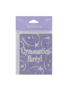 girl time gymnastics 8 count invitations/envelopes