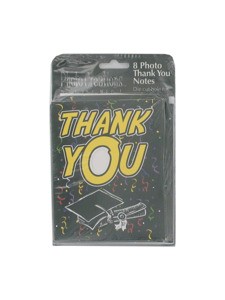 grad 8 count photo thank you notes/envelopes