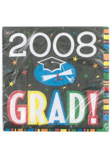 grad 2008 16 count 12 7/8 x 12 3/4 inch napkins
