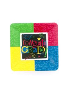grad congrats 7 inch square plastic tray