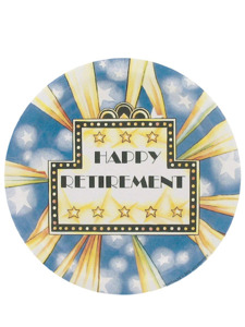 happy retirement 8 count 7 inch round plates