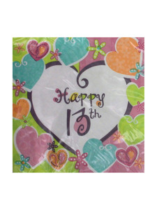heart whimsy happy 16th 16 count 12 7/8 x 12 3/4 napkins