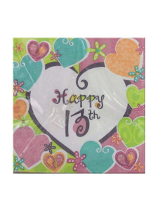 heart whimsy happy 13th 16 count 9 7/8 x 9 7/8 napkins