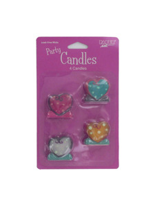 heart whimsy 4 count party candles