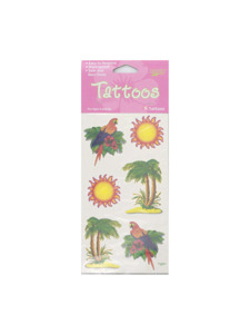luau parrot/palm/sun 6 count tattoos