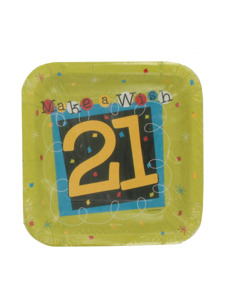 make a wish 21st birthday 8 count 7 x 7 inch plates