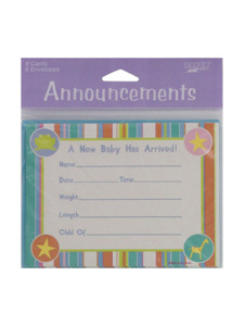 mobile animals 8 count announcement cards/envelopes