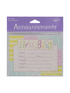 new baby 8 count announcement cards/envelopes
