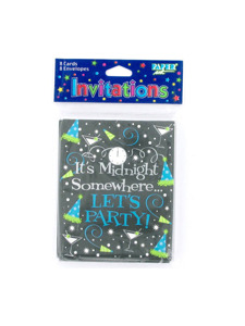 new years lets party 8 count invitations/envelopes