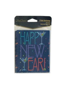new years toast 8 count invitations/envelopes
