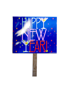 new years toast two sided yard sign