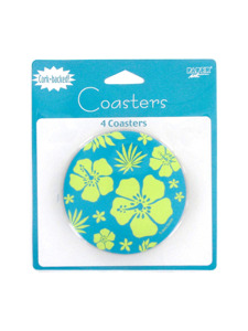 paradise floral blue 4 count cork backed coasters