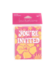 paradise floral pink 8 count invitations/envelopes