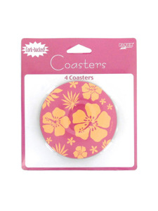 paradise floral pink 4 count cork backed coasters