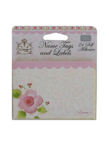 pink garden 24 count self adhesive name tags/labels