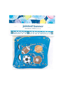 sports star happy birthday jointed banner 4.958 ft