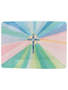 stained glass 14 inch x 10 inch plastic tray