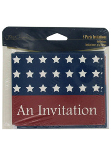 stars and stripes 8 count party invitations/envelopes