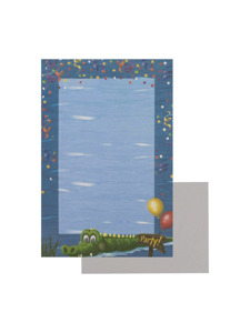swamp party 8 count imprintable stationery sheets/envelopes