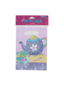 tea party 8 count party loot bags 6.5 x 9 inch