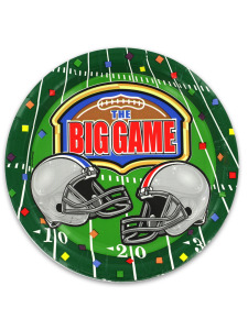 big game 8 count 6 3/4 inch round football plates