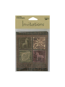 tribal collage 8 count invitations/envelopes