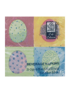 whimsical eggs 24 count 9 7/8 x 9 7/8 inch napkins