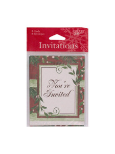 woodland holiday 8 count invitations/envelopes