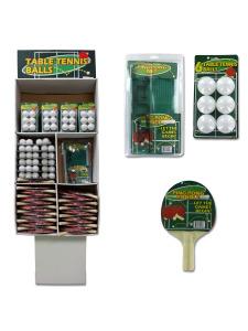 134 pc ping pong display w/ balls & paddles