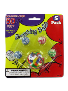 Set of five high bounce balls