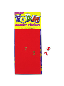 foam number stickers assorted sizes and colors